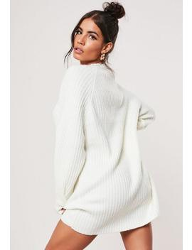 White Crew Neck Ribbed Raglan Knitted Jumper Dress by Missguided
