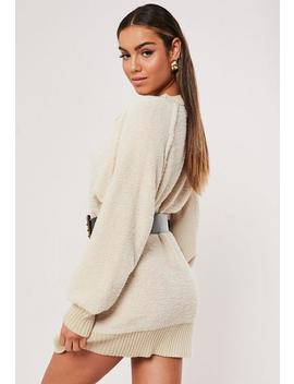 Sand Boucle Knitted Cardigan Dress by Missguided