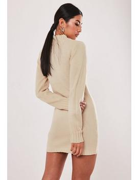 Stone Fitted High Neck Knitted Dress by Missguided