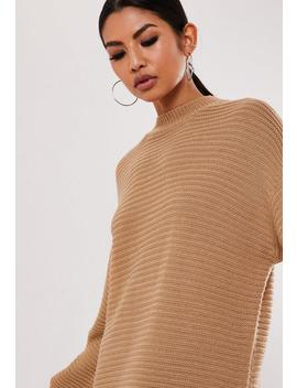 Camel High Neck Ribbed Mini Dress by Missguided