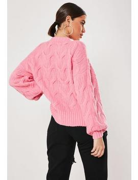 Pink 3 D Plait Cable Knit Jumper by Missguided