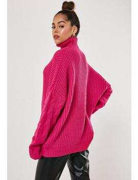 Pink Roll Neck Cable Knit Sleeve Jumper by Missguided