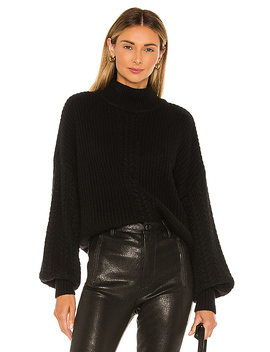 Cable Sleeve Mock Sweater In Ebony by Autumn Cashmere