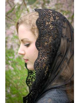 Evintage Veils~ Black Or Ivory Lace French Chapel Veil Mantilla Head Covering Latin Mass Infinity Veil by Etsy