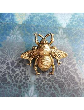 Bumble Bee   Antiqued Gold Plated Bumble Bee Brooch Lapel Pin Or Tie Pin Tie Tack With Gift Box by Etsy