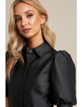 Puff Sleeve Button Dress Black by Linnahlborgxnakd