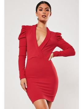 Red Wrap Front Puff Sleeve Mini Dress by Missguided