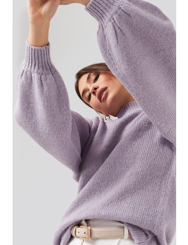 Oversized Long Knitted Sweater Purple by Na Kd
