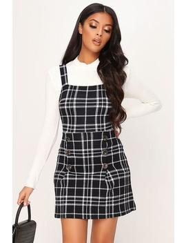 Black Check Button Detail Pinafore Dress by I Saw It First