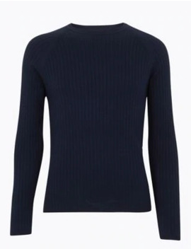Supima® Cotton Ribbed Crew Neck Jumper by Marks & Spencer