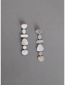 Silver Leather Pebble Earrings by Etsy
