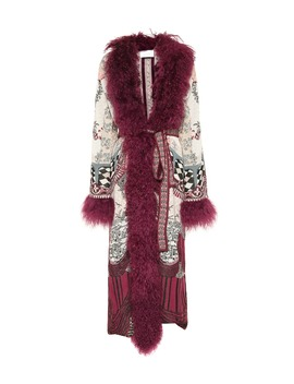 Shearling Trimmed Jacquard Coat by Camilla