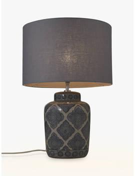 John Lewis & Partners Coraline Ceramic Lamp Base, H34.5cm, Grey by John Lewis & Partners
