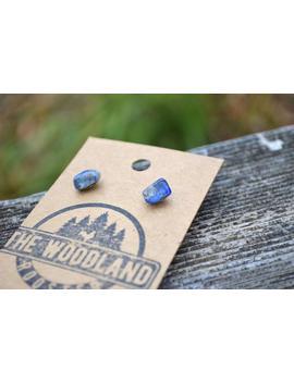 Lapis Lazuli Raw Stone Earrings | Edgy Earrings Boho Bohemian Crystal Gemstone Jewelry | Lapis Lazuli Stud Earrings Minimalist by Etsy