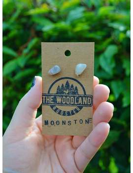Moonstone Raw Stone Stud Earrings | Boho Bohemian Crystal Gemstone Earring Jewelry | Moonstone Stud Earrings Minimalist by Etsy