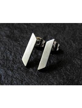 Slanted Bar Earrings / Minimalist Earrings / Stainless Steel Earrings / Dainty Earrings / Edgy Earrings / Bar Studs by Etsy