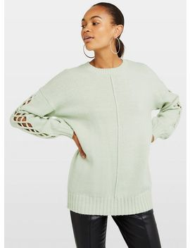 Green Sleeve Stitch Knitted Jumper by Miss Selfridge