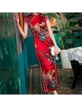 Miss Four Qipao   Cap Sleeve Floral Print Midi Qipao by Miss Four Qipao