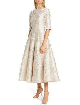 Poiret Rose Jacquard Fit & Flare Midi Dress by Talbot Runhof