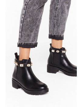 Jewel The World Faux Leather Chelsea Boots by Nasty Gal