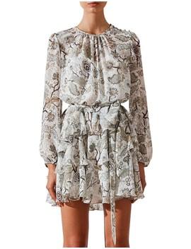 Quinn Ruffle Shift Mini Dress W/ Belt by Shona Joy