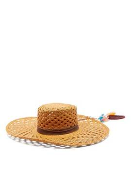 Reed 1 Feather Trimmed Straw Panama Hat by House Of Lafayette