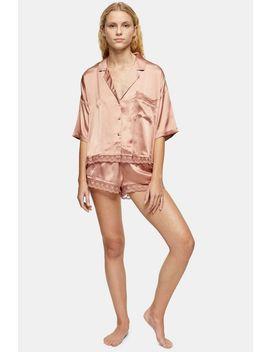 Mink Lace Trim Satin Pyjama Set by Topshop