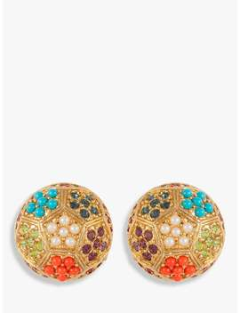 Susan Caplan Vintage 1980s D'orlan 22ct Gold Plated Faux Pearl And Swarovski Crystal Disc Clip On Earrings, Gold/Multi by Susan Caplan