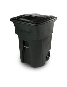 96 Gal. Greenstone Trash Can With Wheels And Attached Lid by Toter