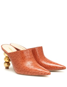 Penelope Croc Effect Leather Mules by Cult Gaia