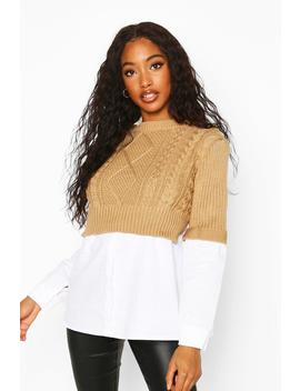 Cable Knit 2 In 1 Jumper & Shirt by Boohoo