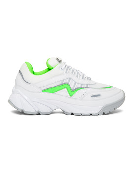 White & Green Demo Sneakers by Axel Arigato