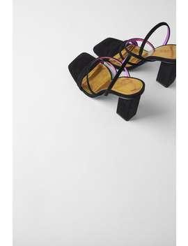 KoŽne Sandale S Visokom Potpeticom I RemeniČiĆima Blue Collection by Zara