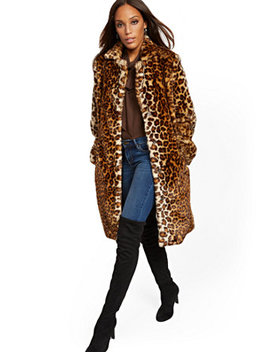 Leopard Print Faux Fur Coat by New York & Company