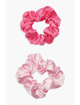 2 Pack Pink Satin Scrunchie by Boohoo