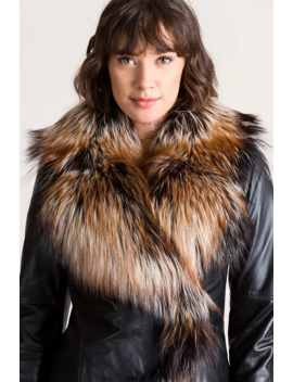 Celestine Lambskin Leather Moto Jacket With Fox Fur Trim by Overland