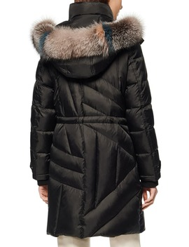 Down & Feather Hooded Parka With Genuine Fox Fur Trim by Andrew Marc