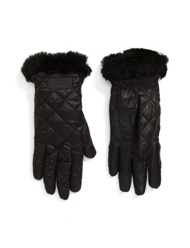 All Weather Touchscreen Compatible Quilted Gloves With Genuine Shearilng Trim by Ugg®