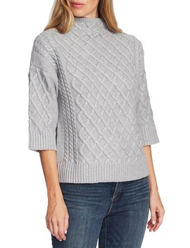 Chunky Cable Knit Funnel Neck Sweater by Vince Camuto