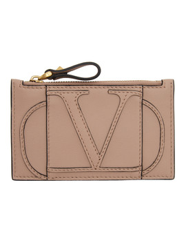 Pink Valentino Garavani V Logo Zipped Card Holder by Valentino