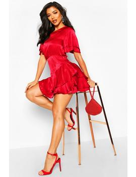 Satin Frill Sleeve Skater Dress by Boohoo
