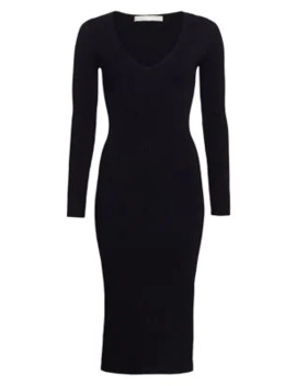 Deep V Ribbed Bodycon Dress by Jonathan Simkhai
