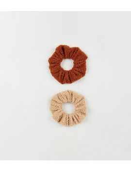 2 Pack Tan Teddy Scrunchies by New Look