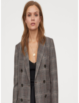 Women Grey Checked Double Breasted Jacket by H&M