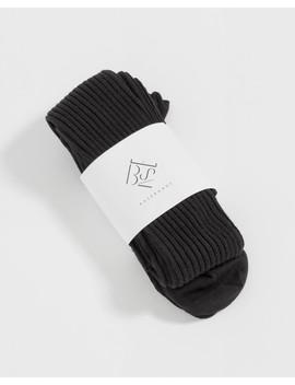 Black Overknee Silk Rib Socks by Baserange