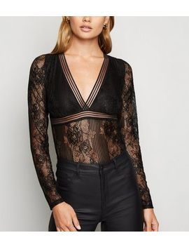 Black Stripe Lace Long Sleeve Bodysuit by New Look