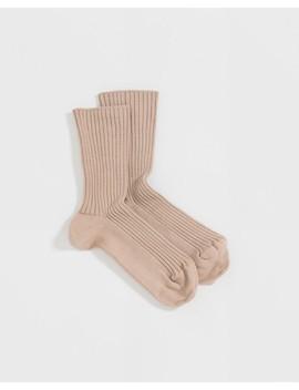 Beige Silk Rib Ankle Socks by Baserange