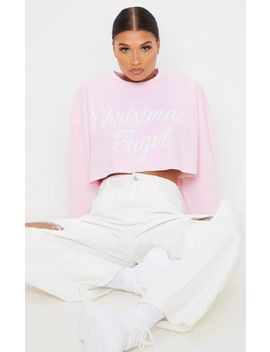 Light Pink Christmas Angel Cropped Sweatshirt by Prettylittlething