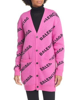 Logo Jacquard Wool Blend Cardigan by Balenciaga
