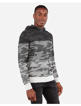 Camo Color Block Hooded Sweater by Express